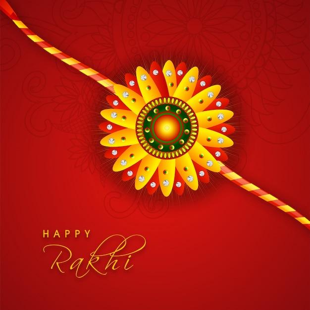 インドの祭り、raksha bandhanのお祝いのための赤い背景を装飾した花のデザインの創造的な輝くrakhi。