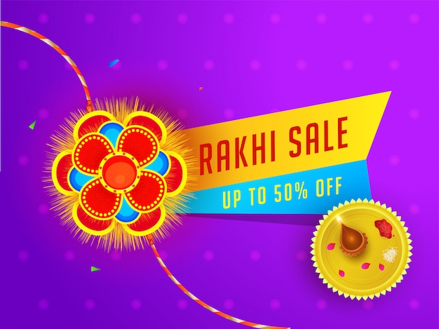Raksha bandhan sale banner or poster design with 50% discount offer and worship plate on purple floral background.