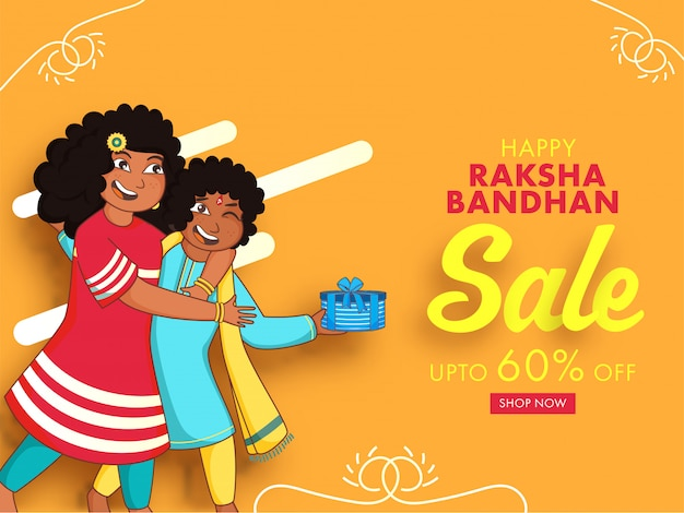 Raksha bandhan sale poster design  and girl trying to snatch gift box from her brother on pastel orange background.