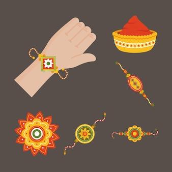 Коллекция символов ракша бандхан на коричневом фоне