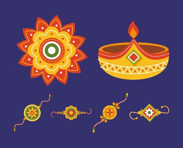 Набор символов ракша бандхан на синем фоне