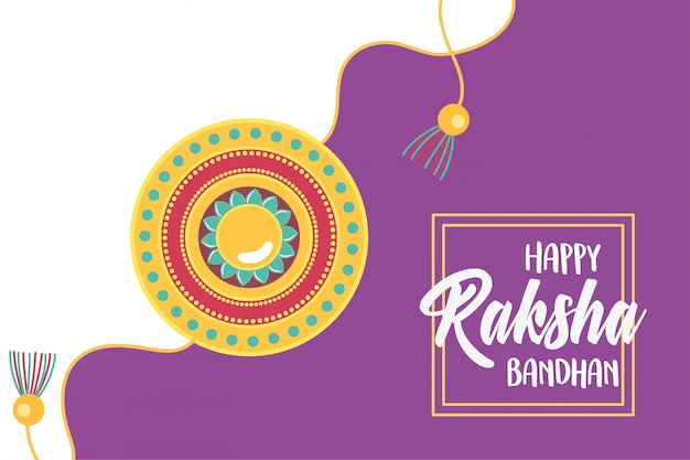 Raksha bandhan, traditional bracelet of love brothers and sisters indian festival