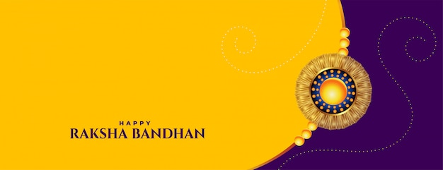 Raksha bandhan yellow banner with rakhi