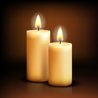 Ralistic candles at dark