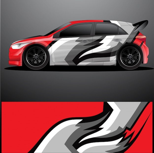 Rally car decal graphic wrap  , abstract design