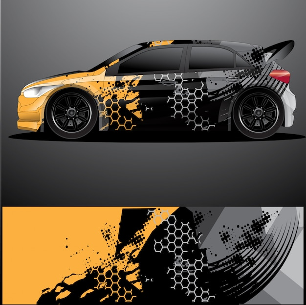 Rally car decal graphic wrap
