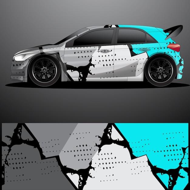 ラリーカーデカールグラフィックラップ Premiumベクター