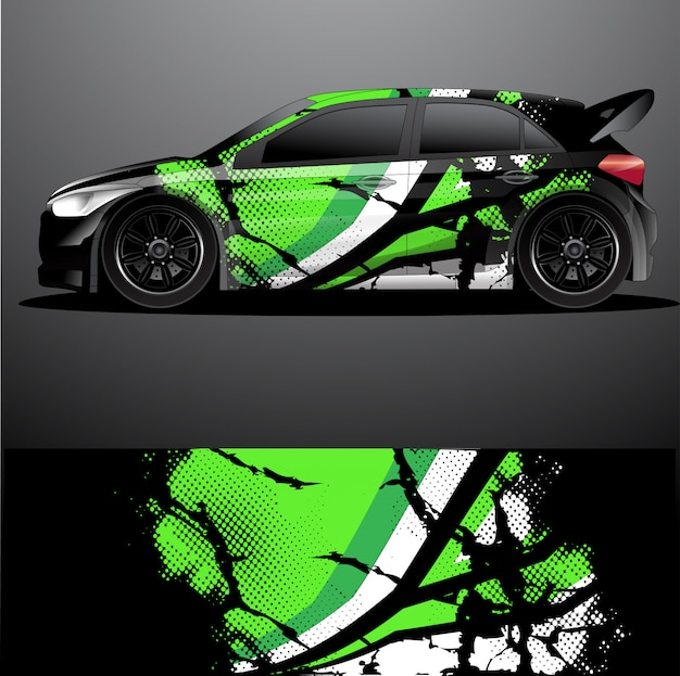 Rally car decal графическая упаковка вектор, абстрактный фон