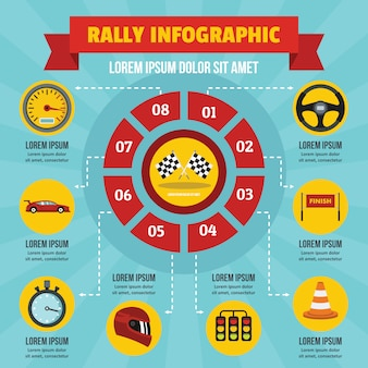 Rally infographic concept, flat style