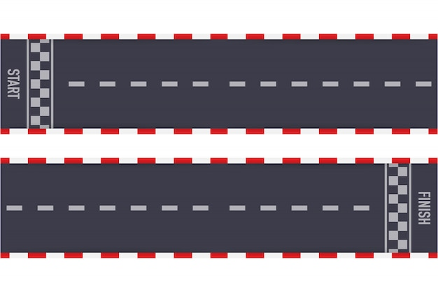 Rally races line track or road marking. car or karting road racing  .  illustration.