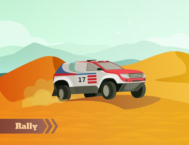 Rally racing flat background