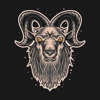 Дизайн иллюстрации козленка ram на темной предпосылке