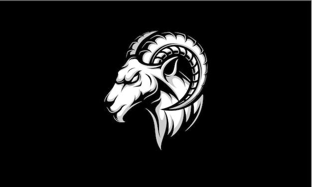 블랙에 고립 된 램 헤드 스포츠 로고