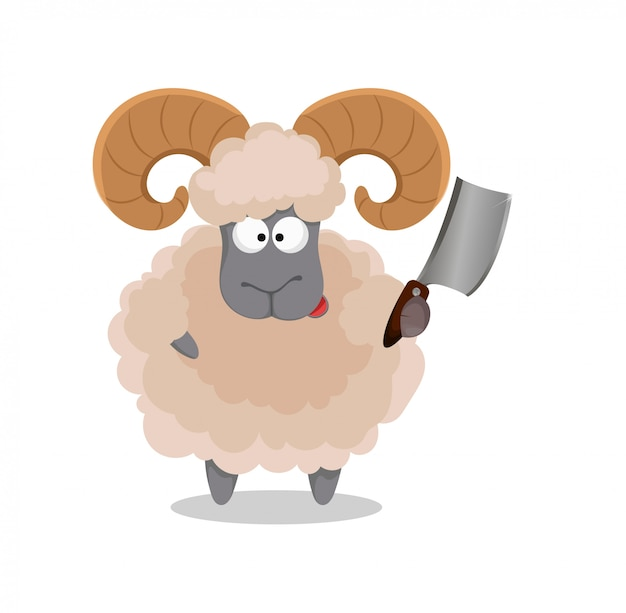 Ram holding meat cleaver