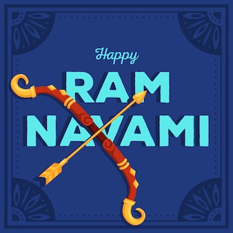 Ram navami banner with bow and arrow