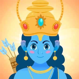 Ram navami banner with child goddess