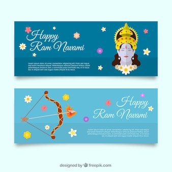 Ram navami banners with flowers and bow