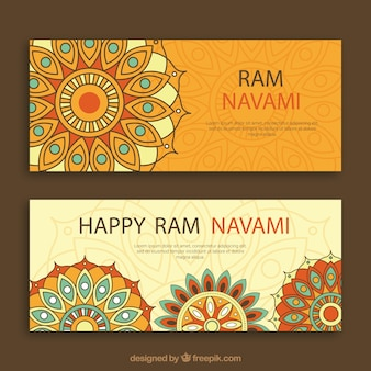 Ram navami banners with ornamental shapes