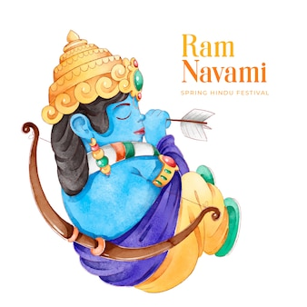 Ram navami festival in flat design