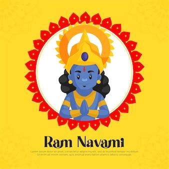 Ram navami greetings with   illustration of lord rama