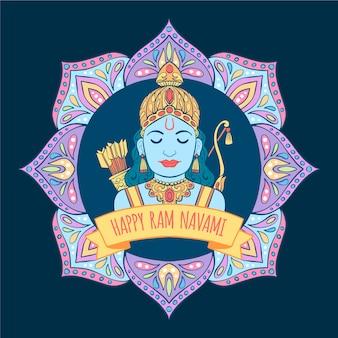Ram navami in hand drawn