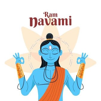 Ram navami meditando con gli occhi chiusi