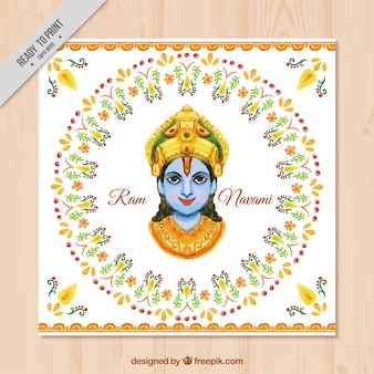 Ram navami watercolor ornamental greeting card