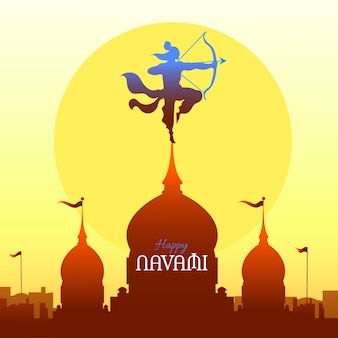 Ram navami with bow and hand drawn style