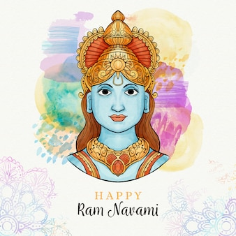 Ram navami with stains in watercolor