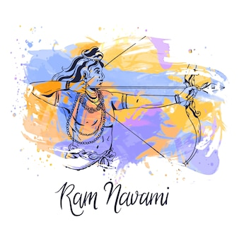 Ram navami with watercolor stains style