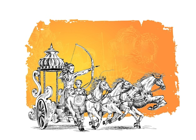Rama with rath killing ravana in happy dussehra background