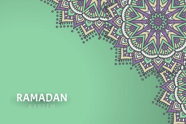 Sfondo di ramadam kareem con ornamenti mandala