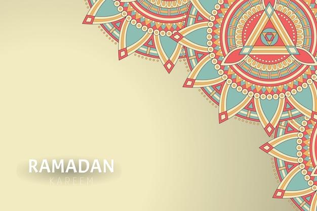 マンダラの装飾品とラマダンカリームの背景