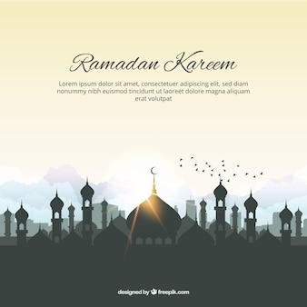Ramadam kareem background with mosque and birds