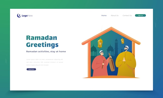 Ramadan activities stay at home illustration on landing page