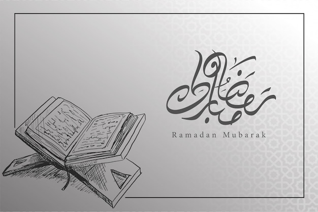 Ramadan background in black and white with book