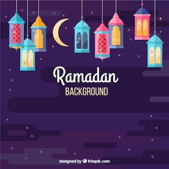 Ramadan background with colorful lamps in flat style