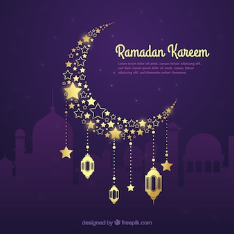 Ramadan background with golden moon in hand drawn style