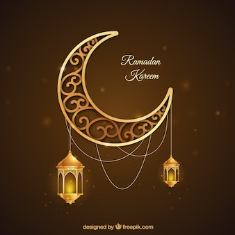 Ramadan background with golden moon