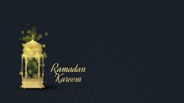 Ramadan background with illustrations of golden lights with bokeh effects.