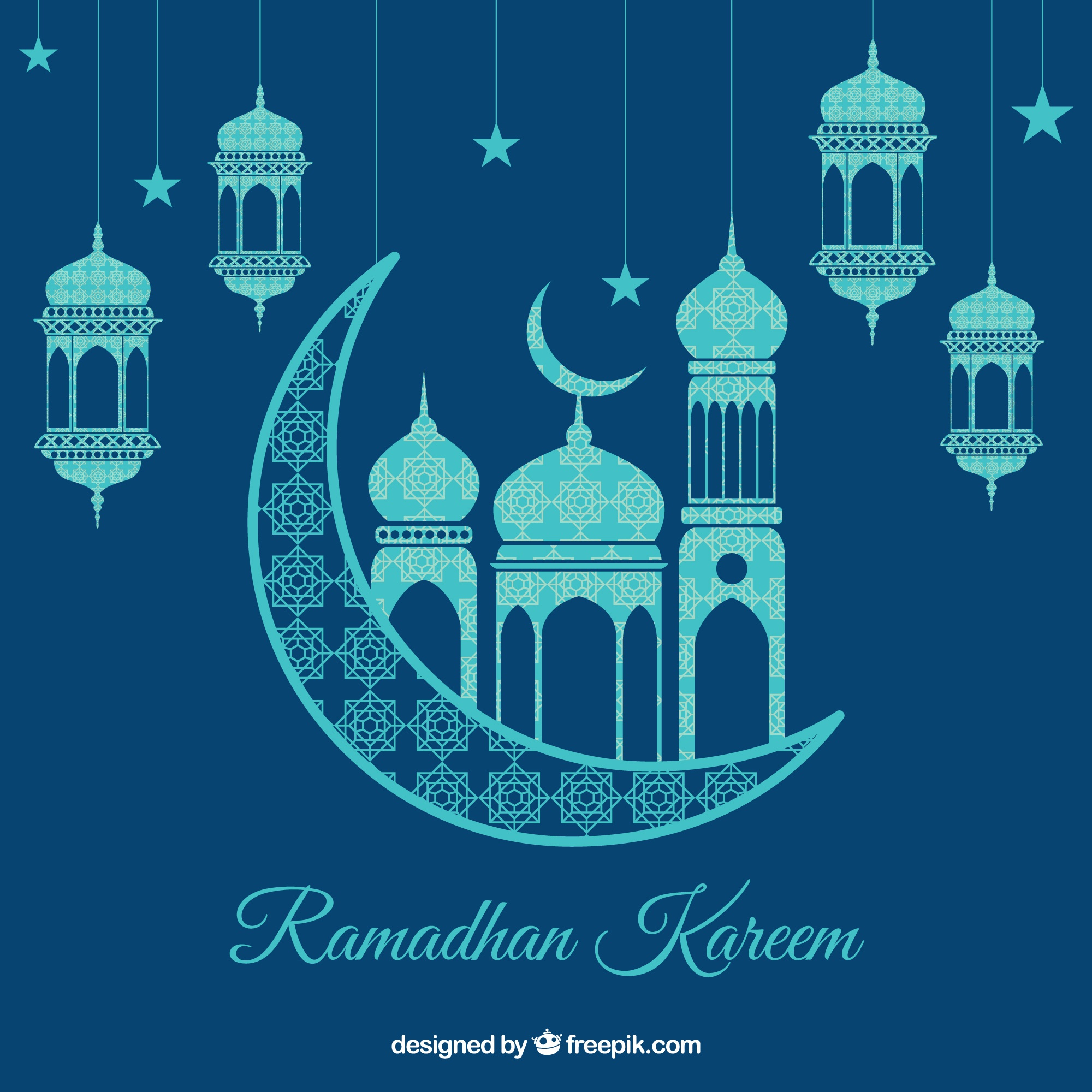 Ramadan background with lamps and ornaments