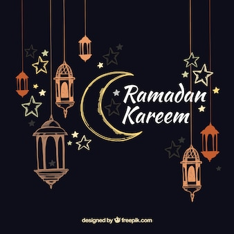 Ramadan background with lamps in hand drawn style