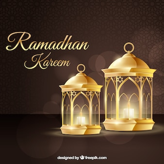 Ramadan background with lamps in realistic style