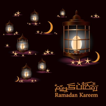 Ramadan background with lamps and moons