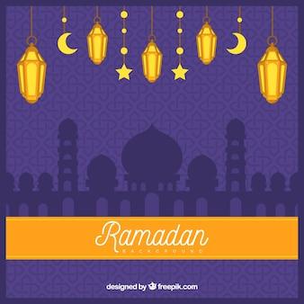 Sfondo di ramadan con lampade e moschea