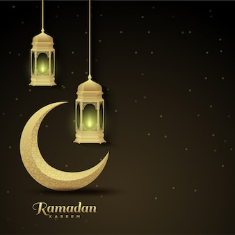 Ramadan background with lights and golden crescent illustration on the left.