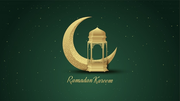 Ramadan background with lights and golden crescent illustrations.