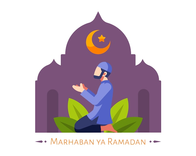 Ramadan background with moslem male pray in the mosque