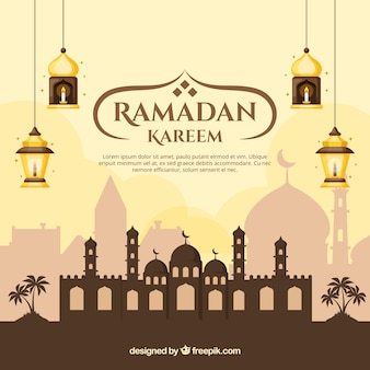 Ramadan background with mosque and lamps in flat style