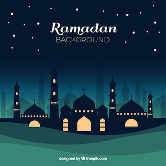 Ramadan background with mosque at night in flat style